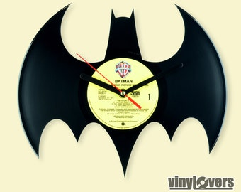 BATMAN gift handmade unique wall clock from used vinyl record black yellow