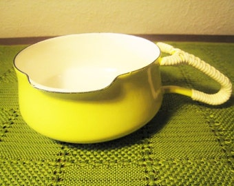 SALE / Early Dansk Kobenstyle Yellow Enamelware Butter Warmer - Oval Four Ducks Mark - JHQ - Rattan / Wrapped Handle - Danish Modern