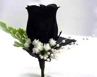 Black corsage,  Black boutonniere, Black wedding silk boutonniere Mens wedding black boutonniere, black prom boutonnieres