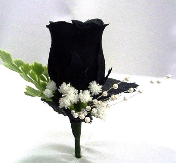 Black Flower Corsage Brooch Masoomah: Black Corsage Black Boutonniere Black Wedding Silk