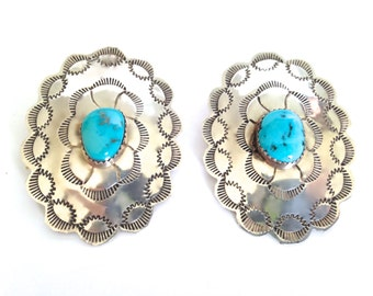 Stunning Large Vintage Navajo Sterling Silver & Turquoise Ornate Concho Earrings