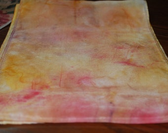 """Pink, Yellow and Purple Tie-Dyed Silk Scarf  54 x 8"""""""