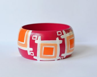 Hand Painted Geometric Magenta Statement Bracelet