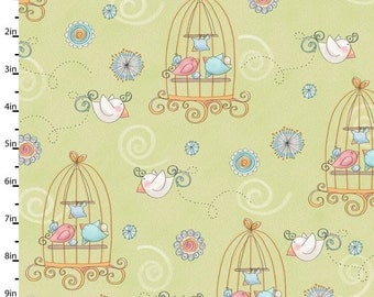 Bird Wise Fabric Pink, Blue, White Birds and Birdcages on Light Sage Green Yardage - REDUCED