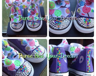 Candyland/Candy Shoppe Crystal Rhinestone Converse - Candyland birthday - Candy Shoppe - Candy Themed Birthday - Infants/Toddler/Adults