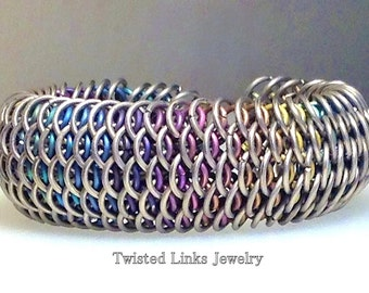 Chainmaille titanium cuff bracelet rainbow dragonscale peekaboo