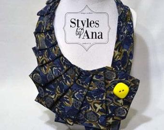 Saffron- Unique Repurposed Necktie Art Accessory Necklace/Trendy Collar, Button Art, Fabric Statement Neckalce 100% Silk Necktie