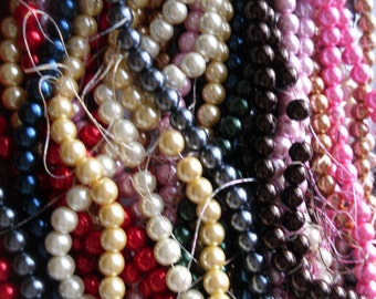 Pick Your Color Strand 12mm Glass Pearl Bead Strand 16 inches