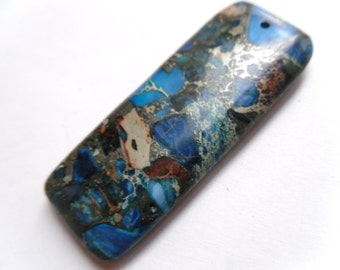 Blue Sea Sediment Jasper & Pyrite Oblong Pendant 50x20mm