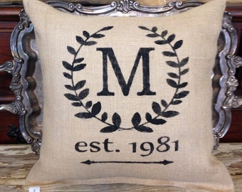 Personalized pillow, monogram pillow, throw pillow. Accent pillow