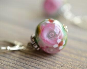 Earrings, Dangle, Flowers Earring, Rose Earrings, Glass Earrings, Dangle Earrings, Handmade Earrings, SRA,  Floral Glass, Floral Earrings,