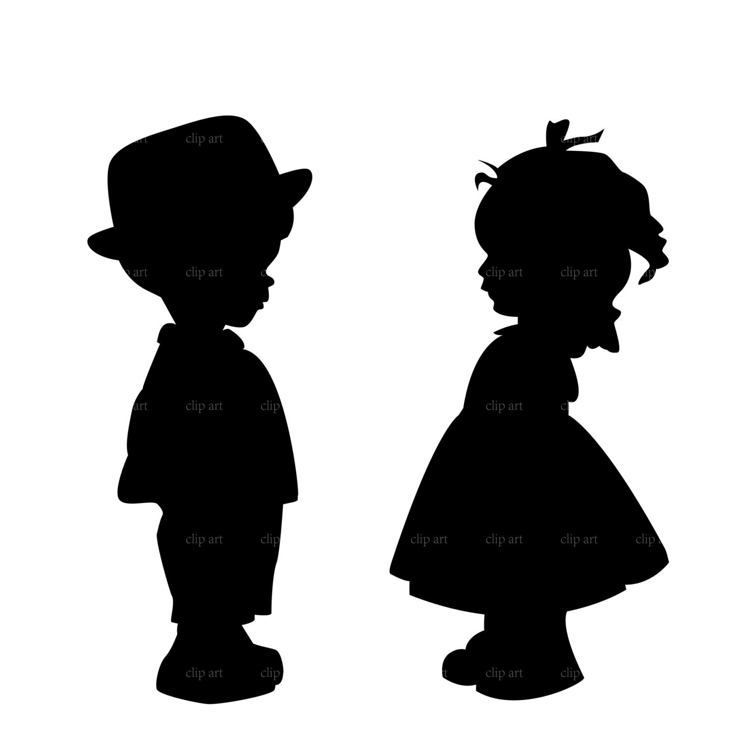 boy and girl silhouette digital clipart vector eps by ...