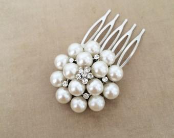 Bridal Pearl Comb, Pearl comb, Bridal Pearl Hair Comb, silver crystal bridal hair accessories wedding crystal rhinestone ROUND MED