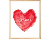 Je t'aime Watercolor Print, Red Nursery Decor, Red Nursery Art, French Nursery Art, Love Quote, French Quote, I Love You, Red Heart Art