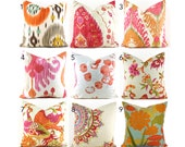 Pillow Covers ANY SIZE You Choose Decorative Pillow Cover Pink Pillow Orange Pillows Ikat Pillow Chevron Pillow