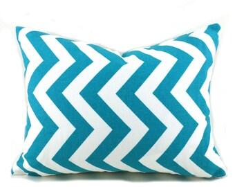 Lumbar Pillow Cover ANY SIZE Decorative Pillow Cover Pillows Home Decor Premier Prints Zigzag Chevron True Turquoise