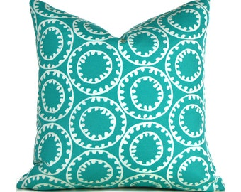 Indoor Outdoor Pillow Covers ANY SIZE Decorative Pillows Outdoor Turquoise Pillow Designer Pillow P Kaufmann Outdoor Ring a Bell Turquoise