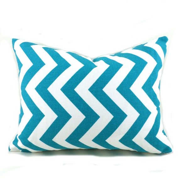 Lumbar Pillow Cover ANY SIZE Decorative Pillow Cover Pillows Home Decor Premier Prints Zigzag Chevron True Turquoise