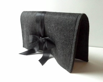 SALE Clutch handbag, felt bag, black bag, uncommon bag,handmade bag,women bag, little bag, woman cluth bag, women trends, style Inspiration