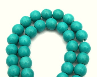 8 mm Sea Green Turquoise, Howlite, Round Beads