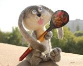 Easter Bunny -  Easter  Rabbit  - Needle felted -  Bunny Needlefelted Wool Soft - Needle Felted Toy - Gray hare - Gray