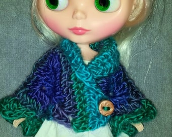 Shawl Collar Sweater for Blythe.  Choose your colorway Shown in Dragonfly Clothes Crochet Outfit