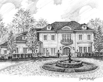 Custom Home Portrait- 12x17 Graphite Pencil Original Your My Home Sketch Drawing Christmas Birthday First Home Anniv Wedd Closing Gifts