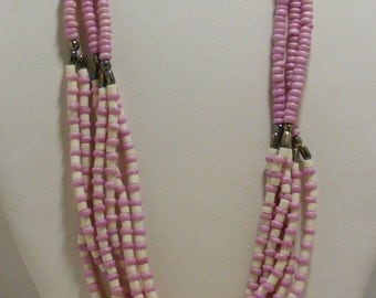 Vintage Purple and White Multistrand Shell Necklace