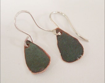 Bangor Public LIbrary Copper Roof Earrings Extra Small Teardrop Dangles Limited Edition