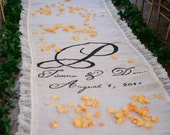 30ft Lace Burlap Wedding Aisle Runner with Custom Monogram Initials - White Burlap-Rustic Wedding-County Wedding