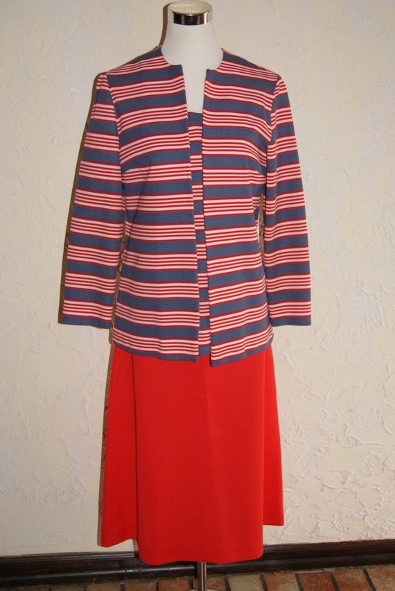Handmade Three Piece Ladies Red White And Blue Suit With Jacket Sleeveless Shirt And Skirt 1970s Look Mary Tyler Moore Look