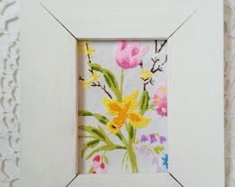 Framed embroidery art, flower art, flower picture, spring art, framed needlepoint, ready to hang, daffodil art, flower needle point, crewel