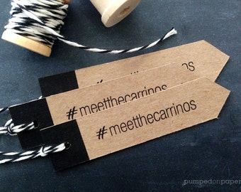 wedding hashtag favor tags - arrow shape - set of 20