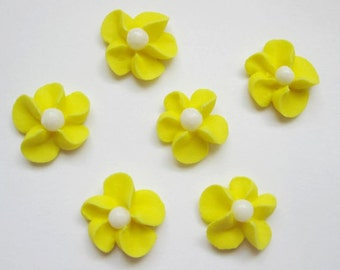 Yellow Royal Icing Flowers with White Sugar Pearl Center (100)
