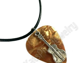 Guitar on Bronze Pearl Genuine Guitar Pick Necklace