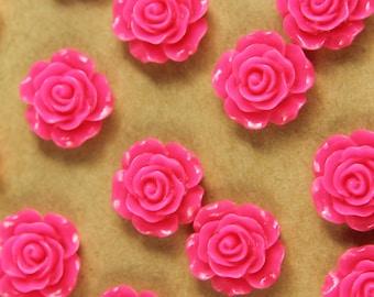 20 pc. Hot Pink Glossy Crisp Petal Rose Cabochon 14mm - RES-439