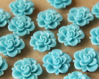 10 pc. Sky Blue Flower Cabochons 19mm | RES-474