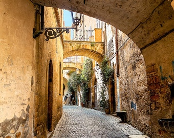 Italian Orvieto Street Cobblestone With Arch Italy Scene Fine Art Photograph Wall Art Home Decor