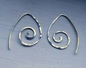 Handmade Petite Sterling Silver Swirl Earrings - Handcrafted Hammered Artisan Ear Wires