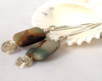 Handcrafted Earrings, Picture Jasper and Silver, on Handmade Sterling Silver Ear Wires