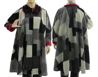 Discount 195 USD - wide flared fall winter spring coat, boiled wool grey, black, ecru with magenta / plus size women xl-xxxl, US  size 18-26