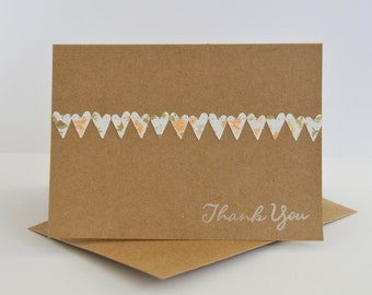 Cottage Chic Wedding Thank You Card Set with Hearts