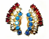 The Star-Spangled Collection: Vintage Retro Gold Red White & Blue Rhinestone American Flag Clip On Earrings