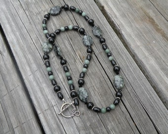 Green and Black Handmade Beaded Necklace