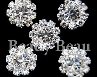 PK of 5 small round shank back rhinestone crystal buttons