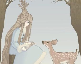 "Lolita Deer Print Mori Girl Postcard 4.5x7"" Winter print Holiday card"