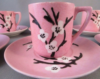 Pink Demitasse Espresso Cups and Saucers, Mid Century Japanese, Tea set, [Demi]