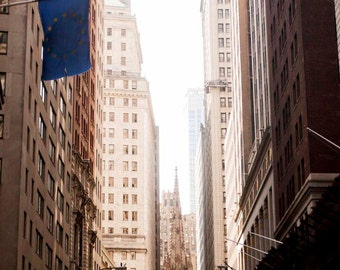Trinity Church at the Financial District in New York City - Viewed from Wall Street - Urban Architectural Photography - Home Decor