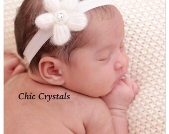 Children's Accessories-White Headband-Flower Headband-Hand Knit Flower Headband-Photo Prop- Newborn Headband- Soft Headband-Infant Headband