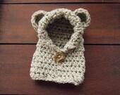 crochet bear hoodie in oatmeal (3-6 months)